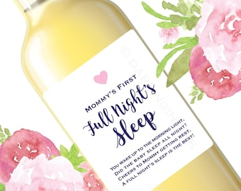 New Mom Gift - Mommy's First Wine Labels - Mommy Wine - New Mama Baby Shower Gift Decor - Funny Wine Labels Mom's Night Out -Choose graphic!