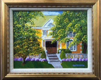 "Free Library, Simsbury, CT,   Original Plein Air Oil painting,  11""x14"",  Framed"