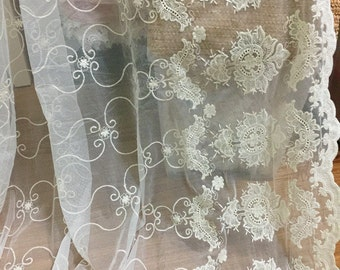 gauze Lace Fabric - Vinateg Biege Cotton Embroidered Fabric Lace Vintage Wedding Bridal Mesh Fabric By The Yard