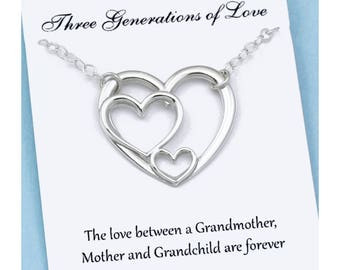 Three Generations of Love • Triple Heart Necklace • Grandmother, Mother, Grandchild • 3 Heart • Grandma Gifts • for Mom from Daughter or Son