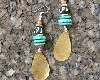 Afrocentric Jewelry - Hammered Brass, bone, Turquoise Howlite Earrings