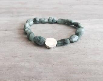Einzigartige Smaragd Armband mit ein Sterlingsilber Perle, Smaragd Stein, Herren Armband, Herren Smaragd Armband