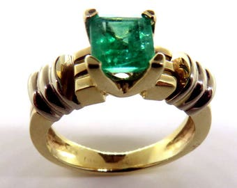 Genuine Emerald 14K Gold Ring