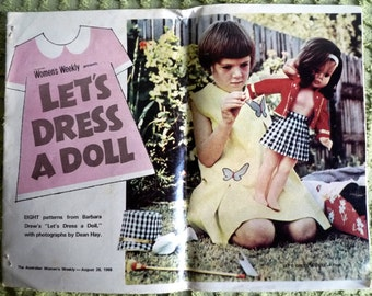 "Vintage 1968 Doll's clothes patterns Womens Weekly supplement great patterns ~ suit 19"" doll"