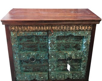 Antique Distressed Blue Sideboard Chest Furniture TV Console Cabinets, Accent Tables, Farmhouse, Industrial, Country, Vintage Chic
