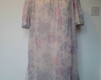 1960s pink mauve floral nightdress st michael