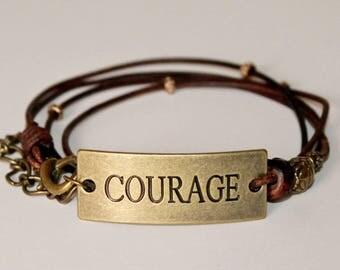 Dark Brown Boho Leather Bracelet -  Multi Wrap w. Stamped Metal Plate - Yoga/ Spiritual/ Inspirational Saying