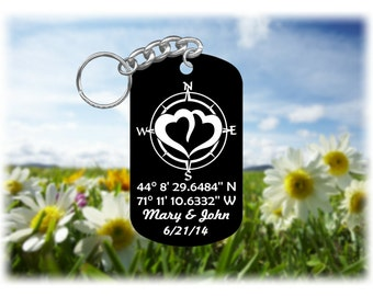 Compass Rose Keychain - Personalized  Latitude Longitude and Your Special Message