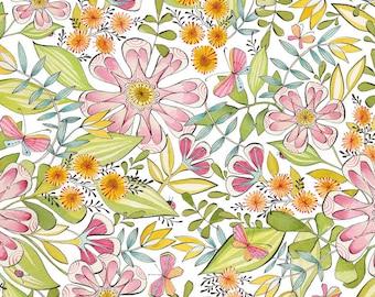 Garden Girls Always in Bloom in White Fabric