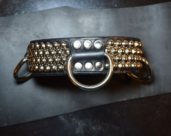 Vegan Studded 3 Ring Collar. Unisex Latex Rubber Couture Witch Punk Bondage Glam Choker