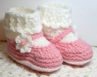 Loafer Booties with Socks-Size 6 wks to 3 m-Pink, White-Crocheted-Handmade with love.