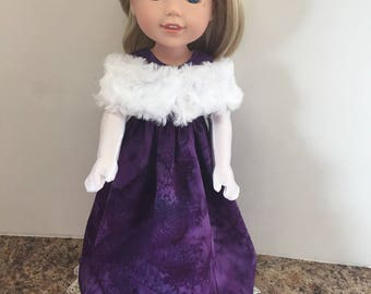 "Purple Ball Gown Set for 14.5"" Doll - Boutique American Made Doll Clothing"