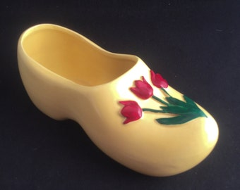 Vintage Ceramic Clog with Tulips