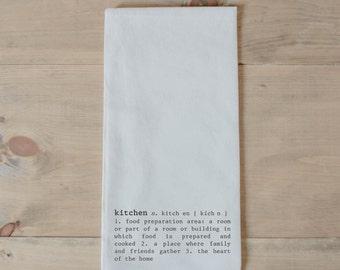 Tea Towel, Kitchen Definition, present, housewarming, wedding favor, kitchen decor, women's gift, flour sack dish cloth
