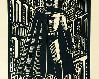 Bat-Man Linocut