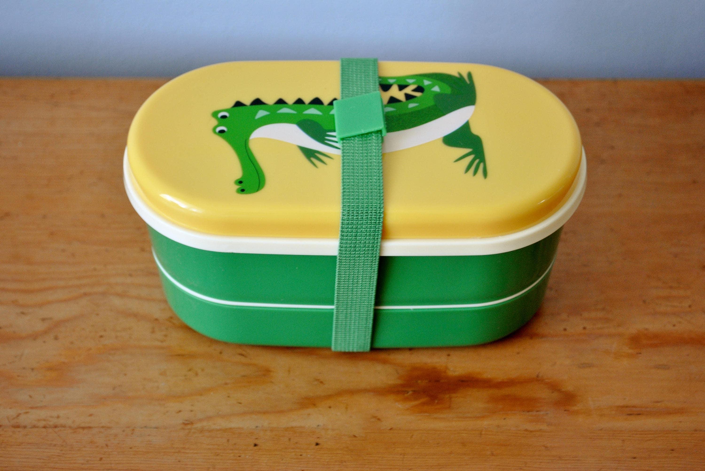 swedish bento box crocodile children 39 s lunch or snack set. Black Bedroom Furniture Sets. Home Design Ideas