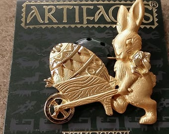 Vintage JJ Artifacts Bunny Pushing Easter Egg Cart Pin Brooch Gold-tone New on Card Easter Bunny Pin 1986