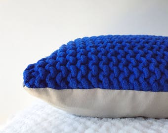 Knit Cushion | Hand Knit Wool Cushion Pillow Cover | 35cm | COBALT