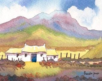 Original Watercolour, Painting, Shepherds Cottage, Snowdon, North Wales, 9ins x 7ins, Mothers Day, Gift Idea, Art and Collectables