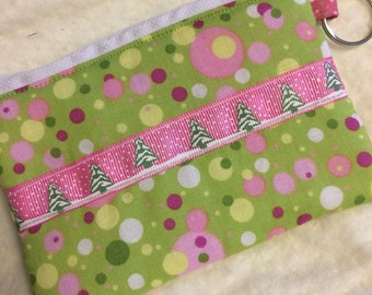 Pink and Green Christmas Tree Coin Purse