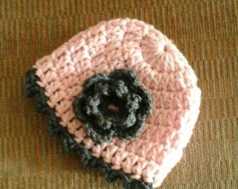 Crocheted  Cute pink and gray hat