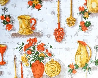 Vintage Wallpaper, Orange, Yellow, White, Flower, Kitchen, 1970s