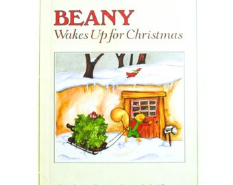 Beany Wakes Up for Christmas, Story by Lisa Bassett pictures by Jeni Bassett, 1988, white, vintage book, Vintage Children's Book