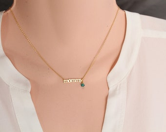 Mommy Necklace, Rose Gold/Silver/Gold Necklace, Choker Length, Mother's Day Gift, Maternity, Pregnant, NewMom
