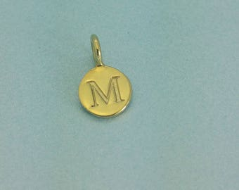 Gold Vermeil Initial Disc Charm. Gold Initial Disc Pendant. Perfect for a Necklace or Bracelet.