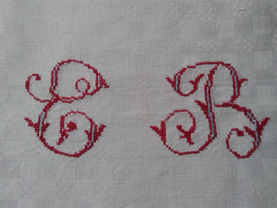 Antique White French Vineyard Tablecloth Red Monogram Hemp and Linen made Damask Checkered #SophieLadyDeParis