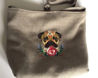 Oatmeal/tweed Embroidered Pug Over The Shoulder Bag - Lined and with internal pocket - Made in Great Britain