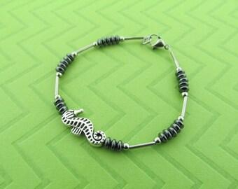 stainless steel seahorse bracelet