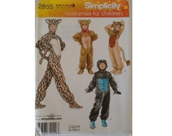 Part UNCUT Simplicity #2855 Child, Boy & Girl Costumes for Children Gorilla, Lion, Bear and Cat Costumes 3 Sizes