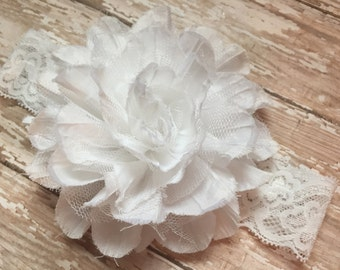 White flower and lace baby headband, christening, baptism, all white headband, wedding headband, flower girl headband, lace headband, white
