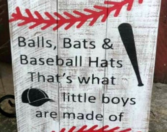 Balls, Bats, Baseball Hats, Nursery Sign, Boys Sign, Baseball Sign, Pallet Sign, Rustic Boys Bedroom, sports pallet sign
