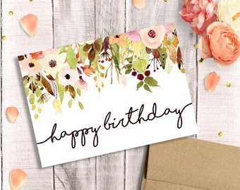 Birthday Card for Her - Printable, Happy Birthday, Watercolor Floral, Instant Download, 5x7 Greeting Card, Mother, Sister, Wife, Grandma