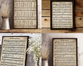 Old Hymn Print Set of 5, Printable Vintage Sheet Music, Amazing Grace, Old Rugged Cross, Instant Download, Inspirational, Christian Art, PDF