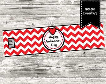 Instant Download Happy Valentine's Day Red Chevron Water Bottle label Print Your Own Digital