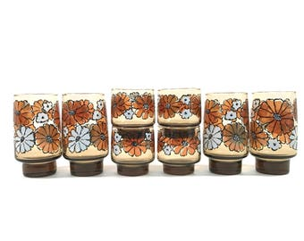 Vintage Libbey Tawny Camellia Glasses / Mod Flower / Set of 8 / Smoky Brown / Rocks Beverage / Daisy Tumblers / 1970s Barware