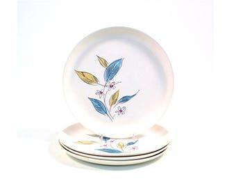 Vintage Salem Biscayne Luncheon Plates / Set of 4 /  Blue Tan Leaf / Pink Daisy / Salem China / Mid Century Dishes / 1960s Dinnerware