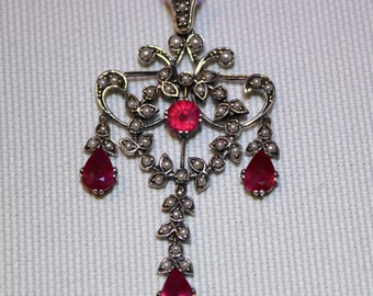 Sterling Silver Ruby & Pearl Pendant