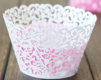 50x White Vine Filigree Cupcake Wrapper for Wedding Party Cake Tree  Decoration | Reception Centerpiece Bakery Christmas Decor