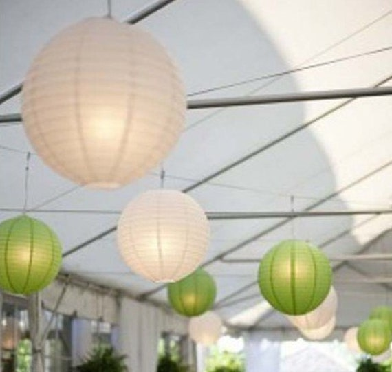 White & Green Paper Lanterns with LED Bulbs for Wedding Engagement Anniversary Birthday Party Hanging Lighting Decoration
