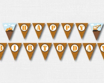 Construction Happy Birthday Banner - Construction Themed Party Banner - Happy Birthday Bunting - Construction Party - INSTANT DOWNLOAD
