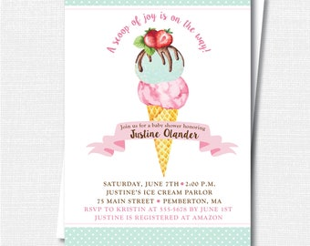 Watercolor Ice Cream Baby Shower Invitation - Ice Cream Social - Summer Baby Shower - Digital Design and Printed Invitations - FREE SHIPPING