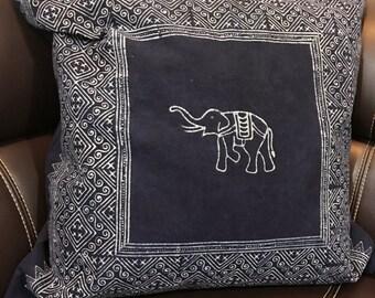 Get  1pc of  54 x 54 cms Indigo Cushion cover, boho, bohemian,Thai cushion excl. pillow