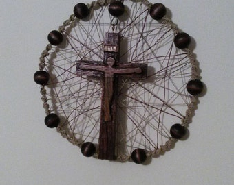 Wooden Wall Rosary / Wooden Wall Rosary Dream Catcher style made with large hand painted beads, hemp, handcarved crucifix