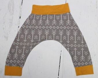 Grey Stitched Arrows and Mustard Harem Pants, Baby and Kids Harem Pant Leggings, Geometric, Gender Neutral