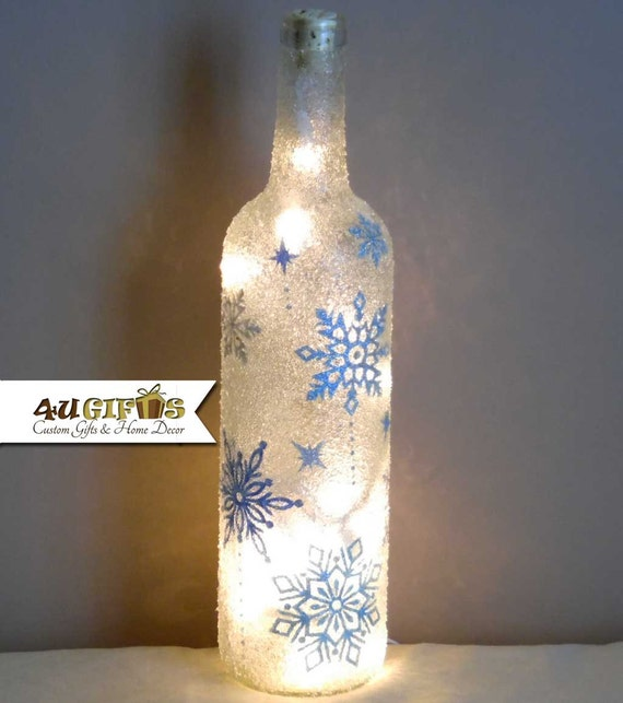 Bottle Christmas Decoration: Items Similar To Lighted Wine Bottle, Snowflakes