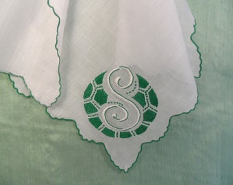 Monogram S embroidered handkerchief  / vintage green and white hankie   /  initial S hankie , letterr S